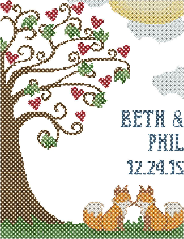 Fox Cross Stitch Pattern/Tree Cross Stitch Pattern/ Fox Wedding ...
