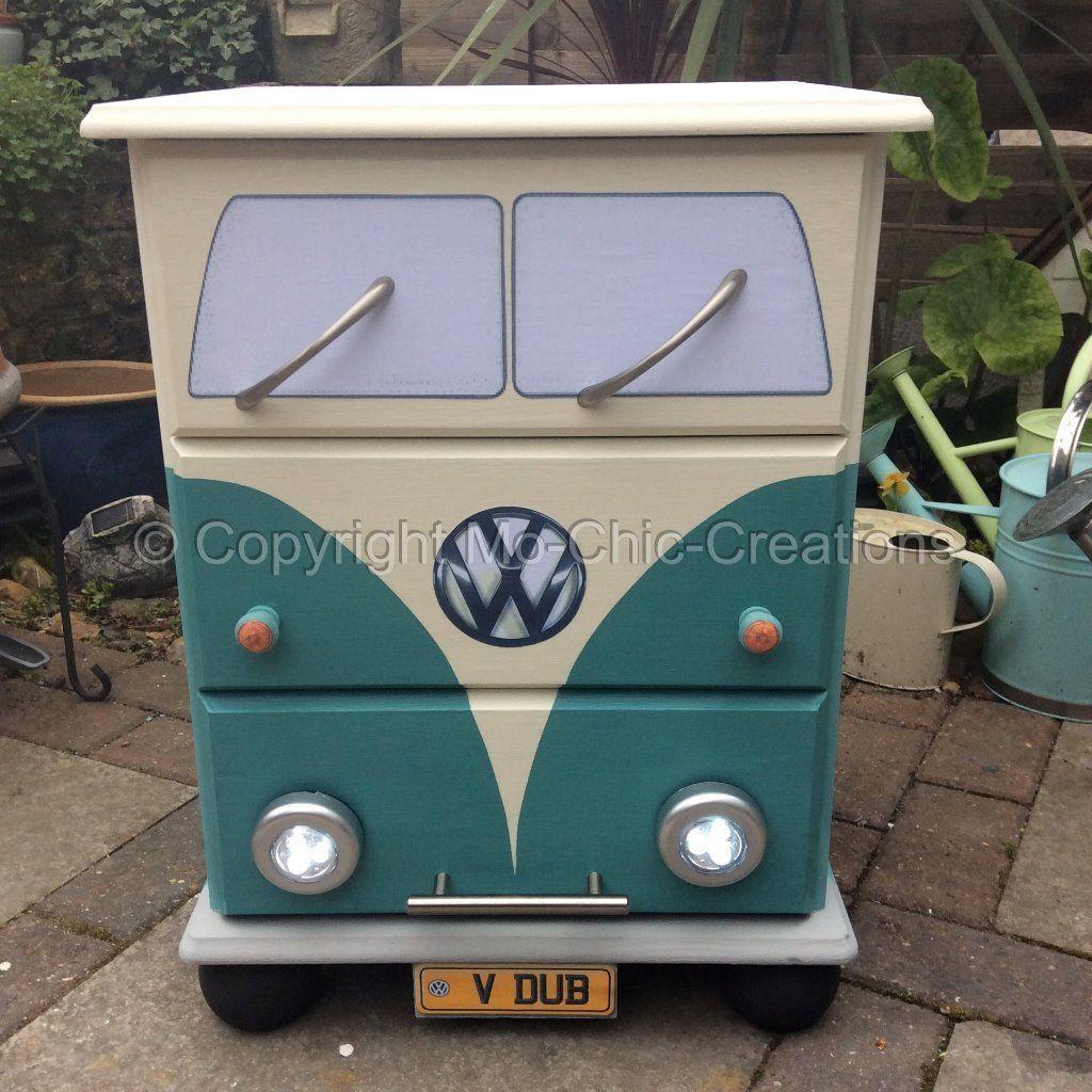 Vintage Retro VW Camper Van Pine Chest Of Drawers Bedside