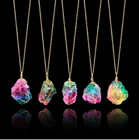 Rainbow Quartz Healing Crystal Pendant Necklace with Metal Chain -   20 women's jewelry Necklace stone pendants ideas