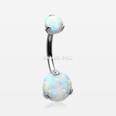 Implant Grade Titanium Internally Threaded Opal Prong Belly Button