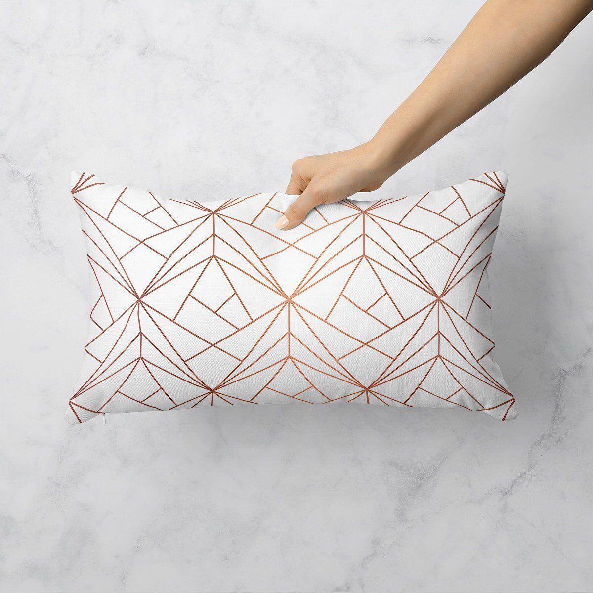 Rose Gold Geometric Decorative Throw Pillow 12x18 Lumbar Pillow Rectangle Accent Pillow Gold Throw Pillows Rose Gold Throw Pillows Gold Accent Pillows