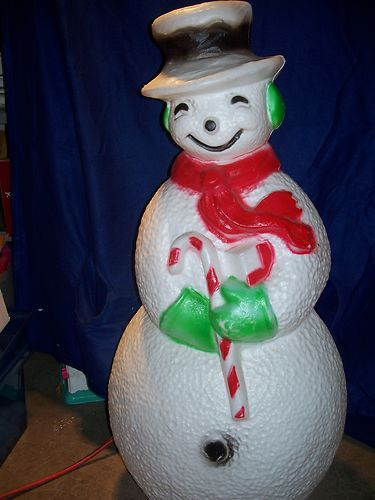 blow mold yard light up decoration snowman 41 christmas light plastic outdoor ebay - Blow Mold Plastic Outdoor Christmas Decorations