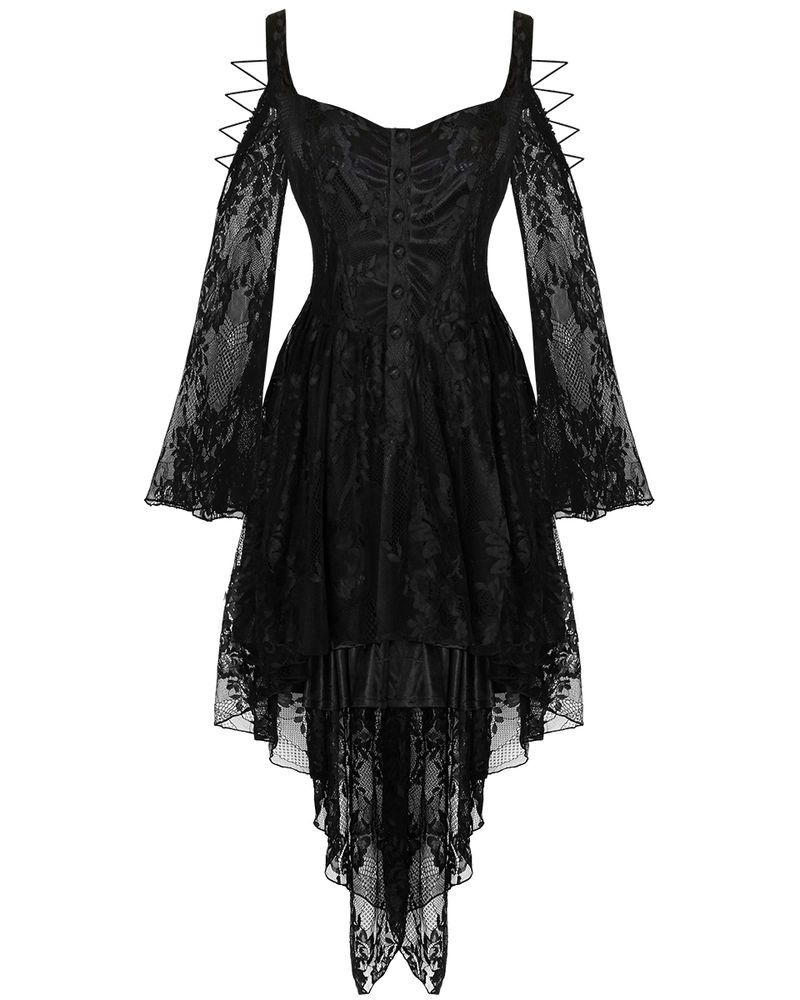 Dark In Love Gothic Lace Dress Black VTG Steampunk Victorian Witch Vampire