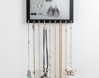 Hook Earring Necklace Organizer 8x10 Black Frame Metal Screen