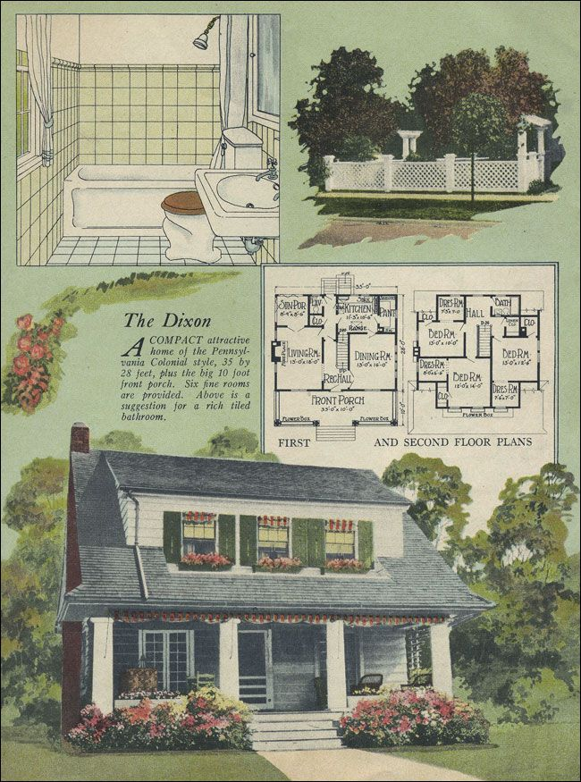 1924 William A Radford Colonial Revival Eclectic Dixon Side gabled with a forward shed dormer