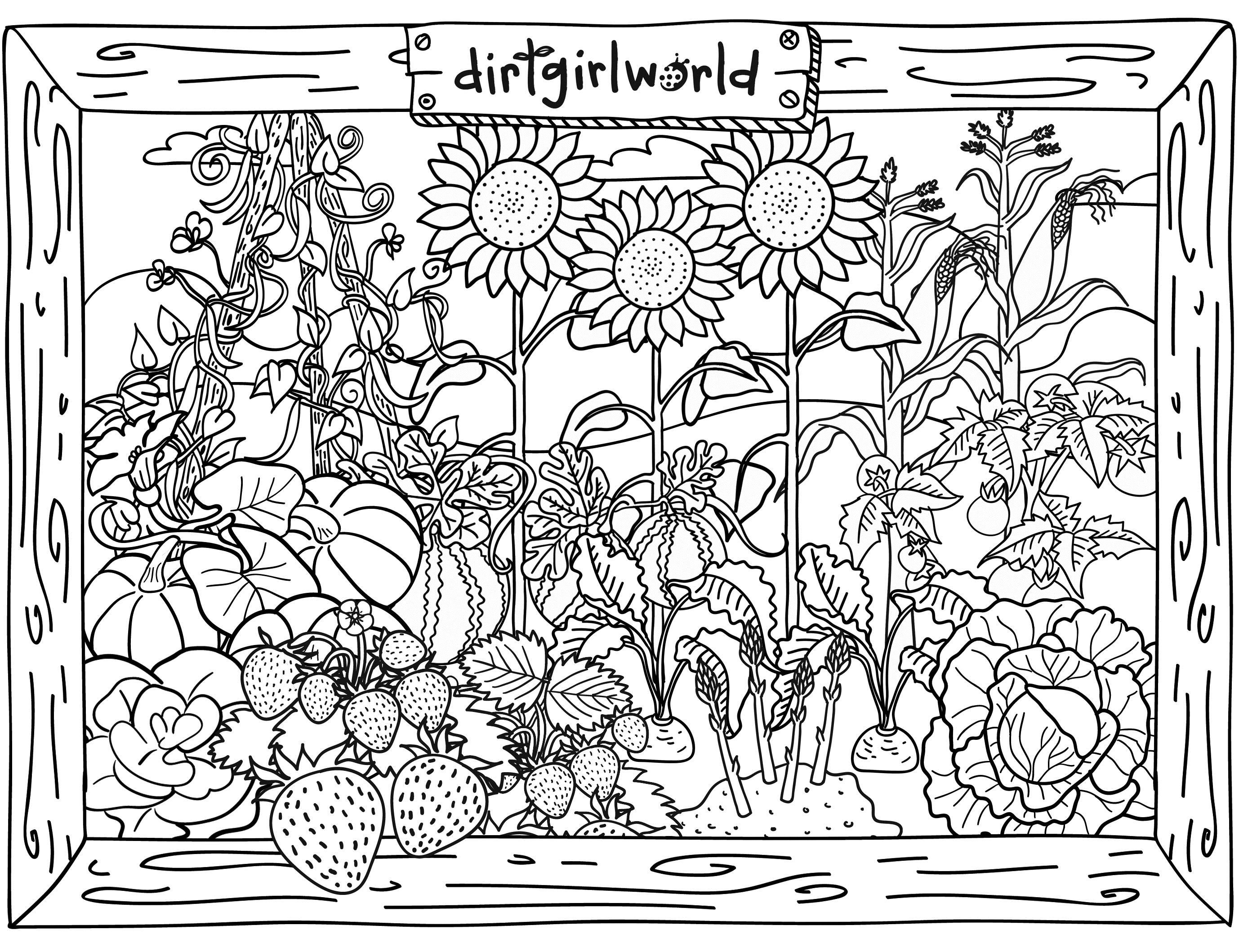dirt girl world garden colouring page