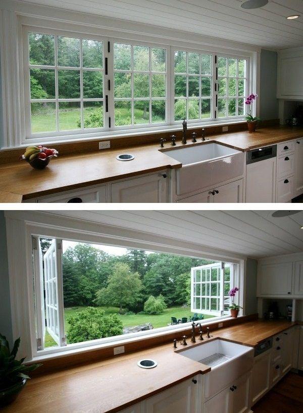 Großes Küchenfenster | Küchenfenster, Küche und Küchenfenster Dekoration