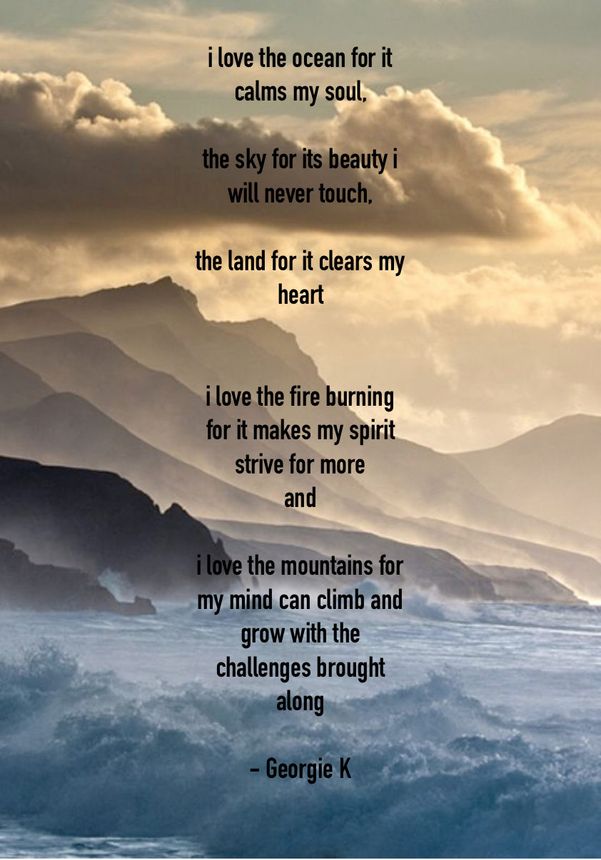 Love Nature Quote Mountains Wind Fire Earth Water Sky Ocean