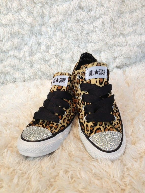 Leopard print bling converse for adults  63152f019