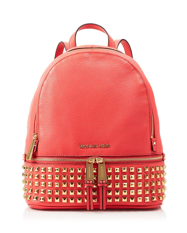 8ab1a6f7bffd MICHAEL Michael Kors Backpack - Bloomingdale's Exclusive Small Rhea Zip  Soft Venus Studded | watermelon pink | Bloomingdale's