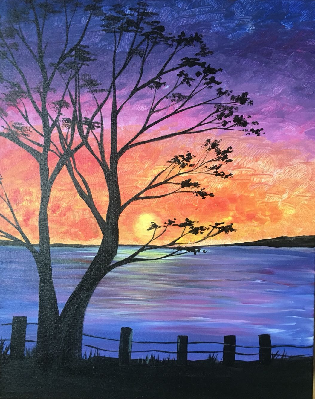 Sunset Bay Acrylic Paintings In 2019 Painting