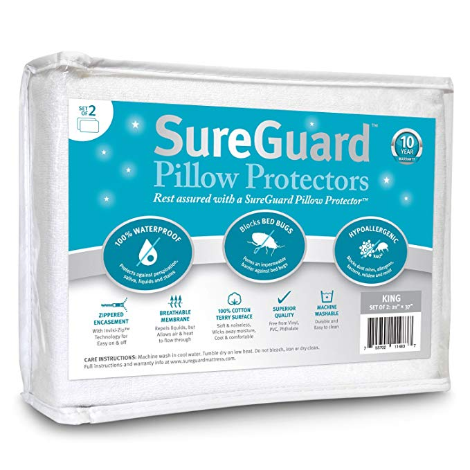 Amazon Com Set Of 2 King Size Sureguard Pillow Protectors 100