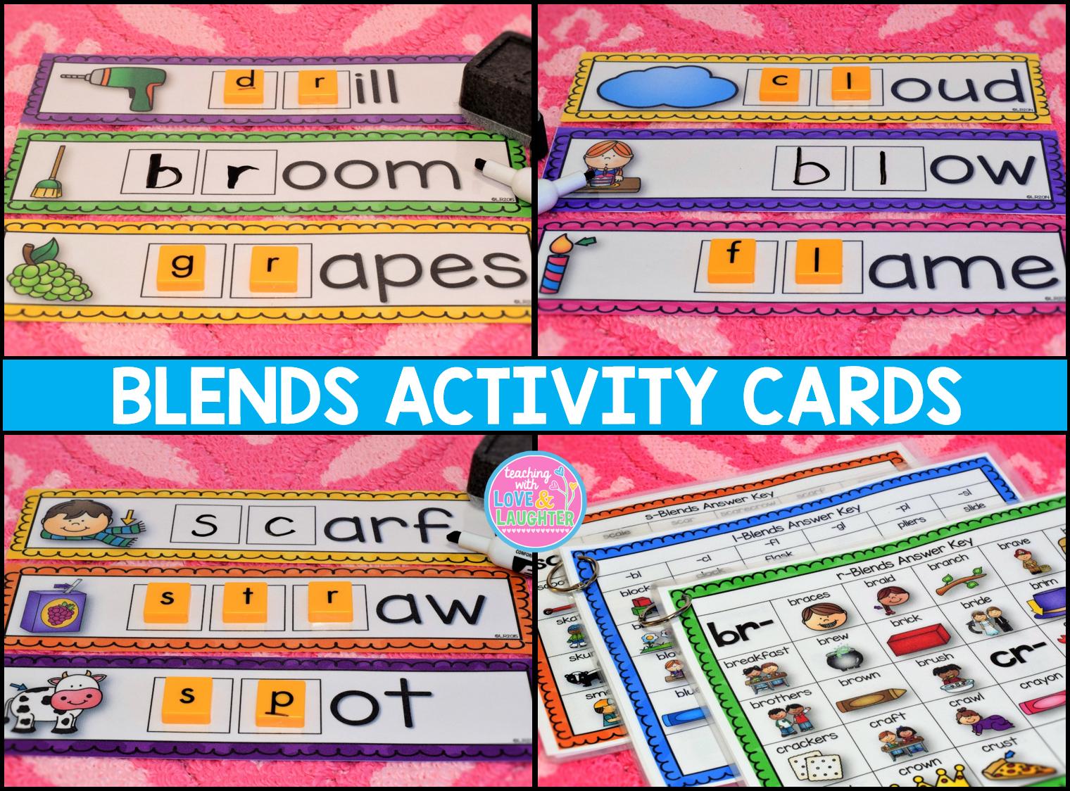 Blends Activity Cards Bundle 1st Grade Teaching