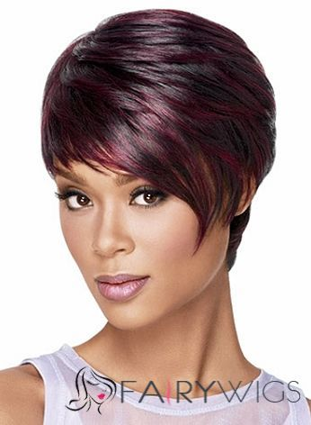 Short Black Hairstyles 2015 Wholesale Short Straight Red African American Lace Wigs For Women 8