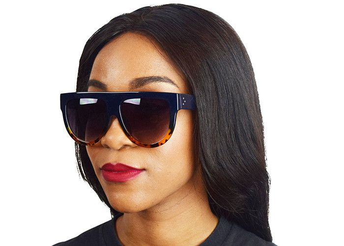 7c50f0042 Kim Kardashian Flat Top Sunglasses from Instagram in Dark Blue and Tortoise  Brown Ombre