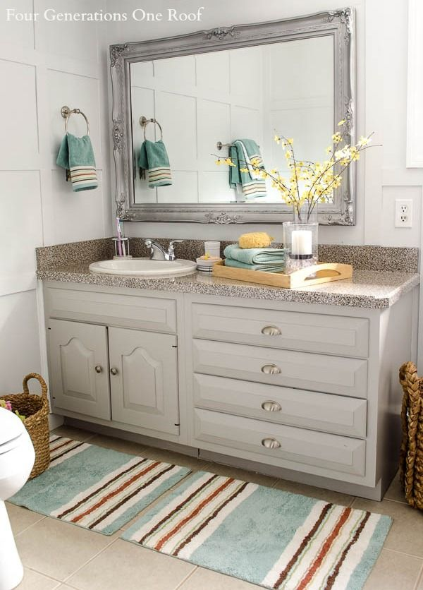 Bathroom Renovation With Before And After Pics Love The Mirror Painted Silver I D Lik Diy Bathroom Vanity Makeover Bathroom Refresh Bathroom Vanity Remodel