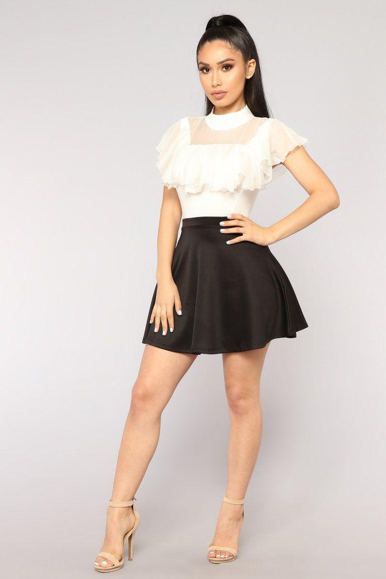 Jordan Ruffle Bodysuit Off White Circle skirt outfits