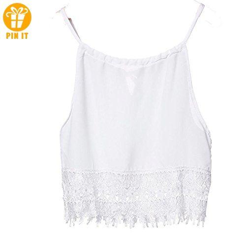 online store dd846 5542d Sannysis Damen Spitze Tops Strand Weste (S, Weiß) - T-Shirts ...