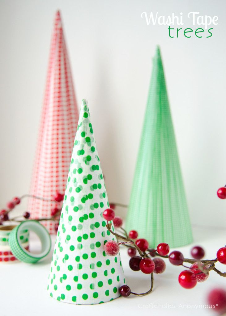 Washi Tape Trees 10 Diy Christmas Trees Ideas Homemade Christmas Tree Decorations Holiday Crafts Homemade Christmas Decorations