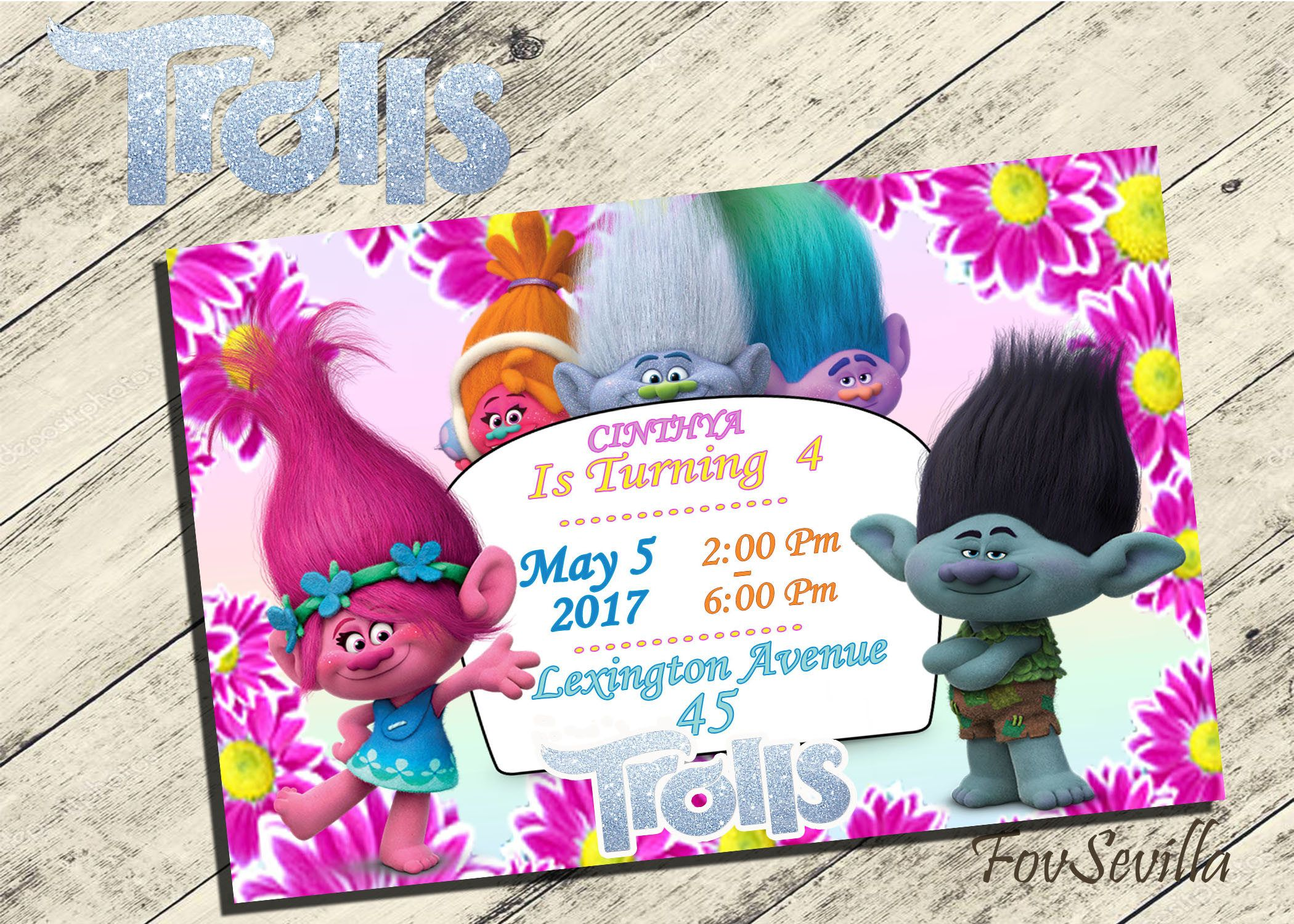 bday party invitation mail%0A text message invitation birthday party Trolls invitation troll birthday  invitation poppy invitation poppy birthday invitation trolls