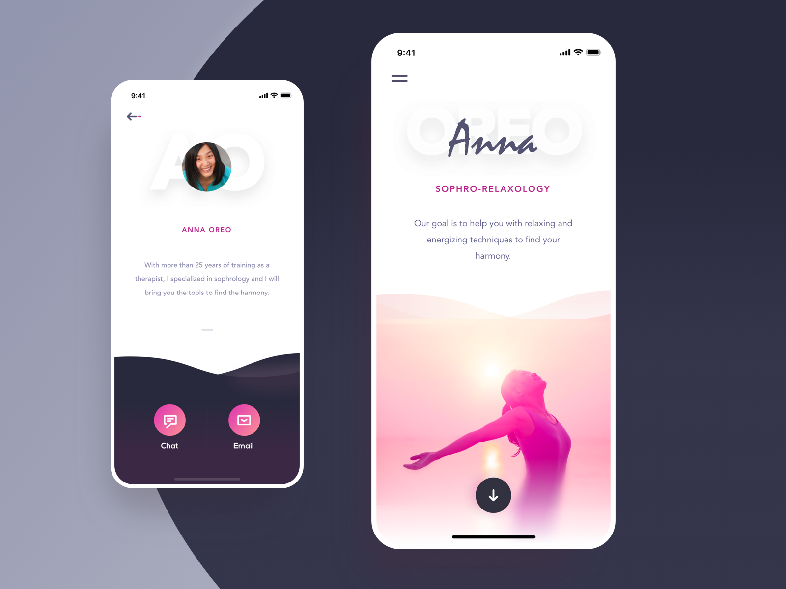 Dribbble osmose 3 v4 Landing page, Relax, App design