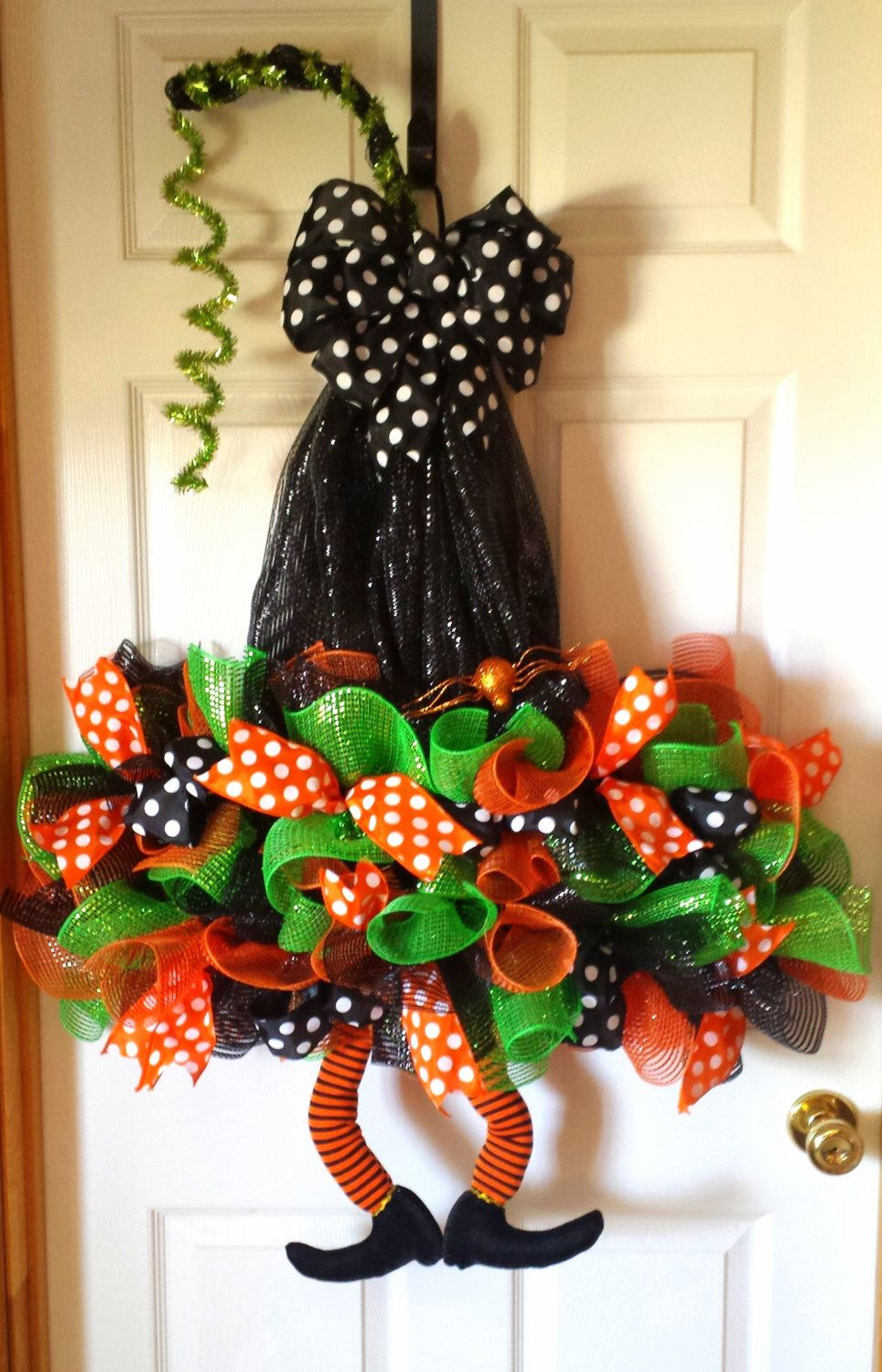 Whimsical, Halloween Witch Hat Wreath with Legs by AnySeasonAnyReason on Etsy https://www.etsy.com/listing/243569988/whimsical-halloween-witch-hat-wreath