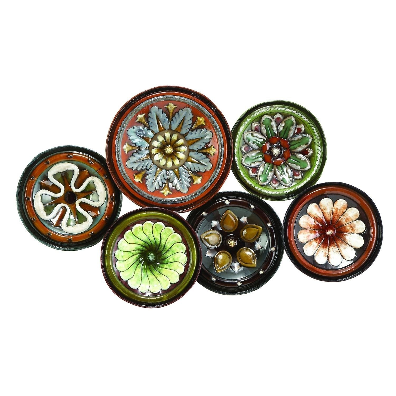 Benzara Metal Wall Decor With Six Round Plates Shaped