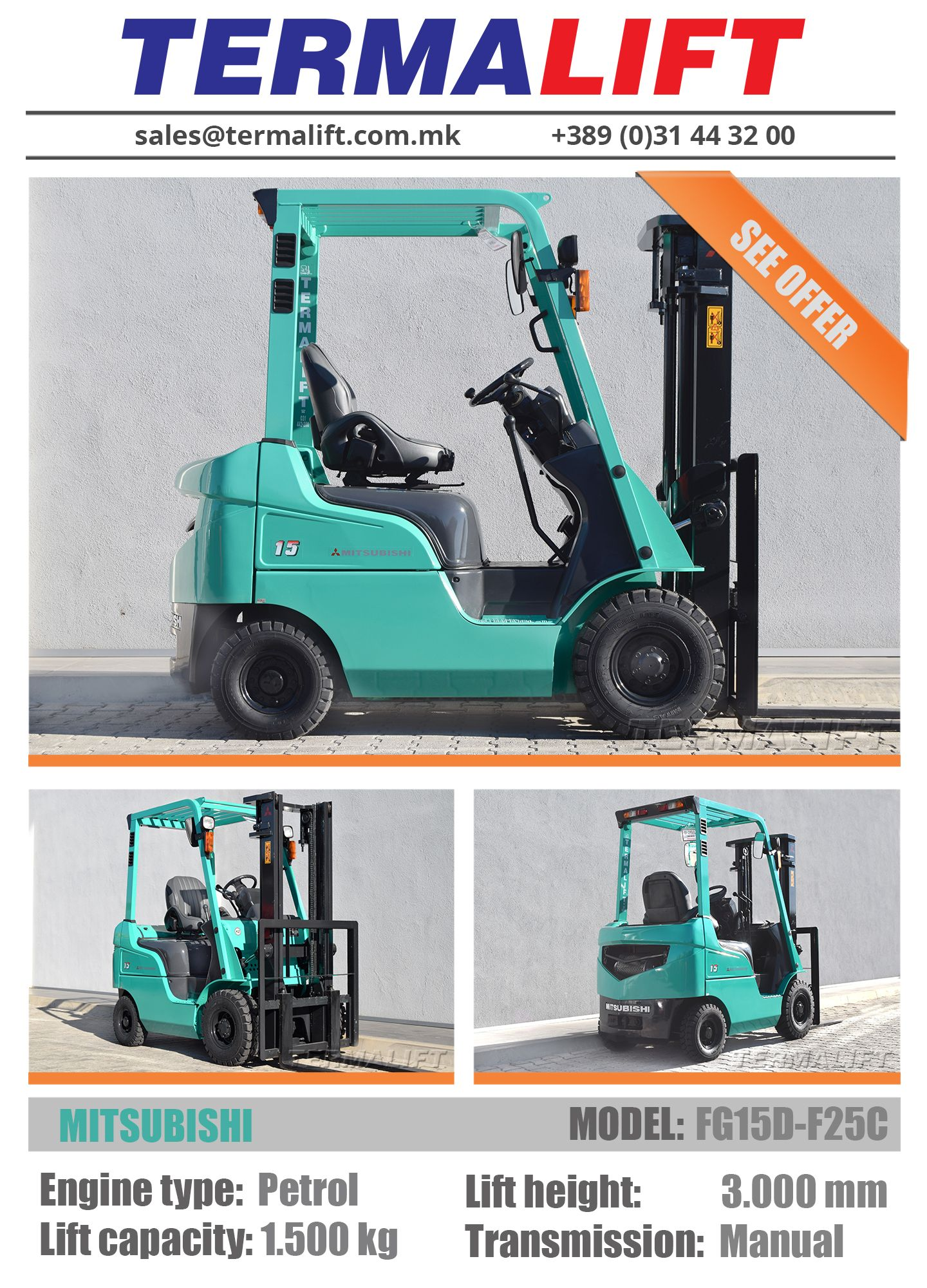 Mitsubishi Forklift For Sale Model Fg15d F25c Engine Type Truck Transmissions Petrol Lift Capacity 1500 Kg Height 3000 Mm Transmission Automatic