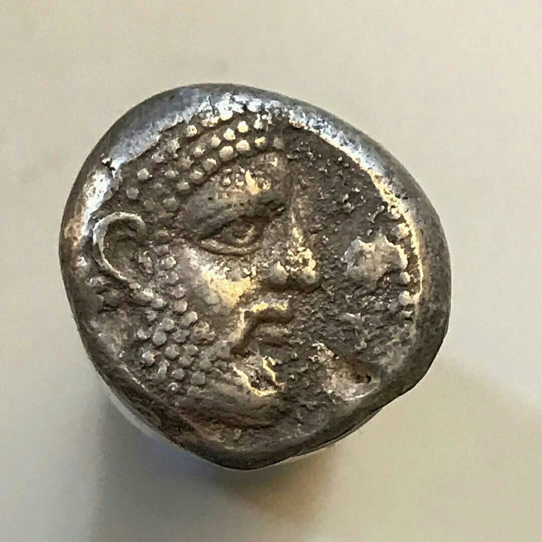 Stater 350 332BCE From Arados, Phoenicia, Featuring A Laureate Head Of  Melquart/Zeus With A Galley At Sea On The Reverse. Aramaic Letters And Date  Year 5.