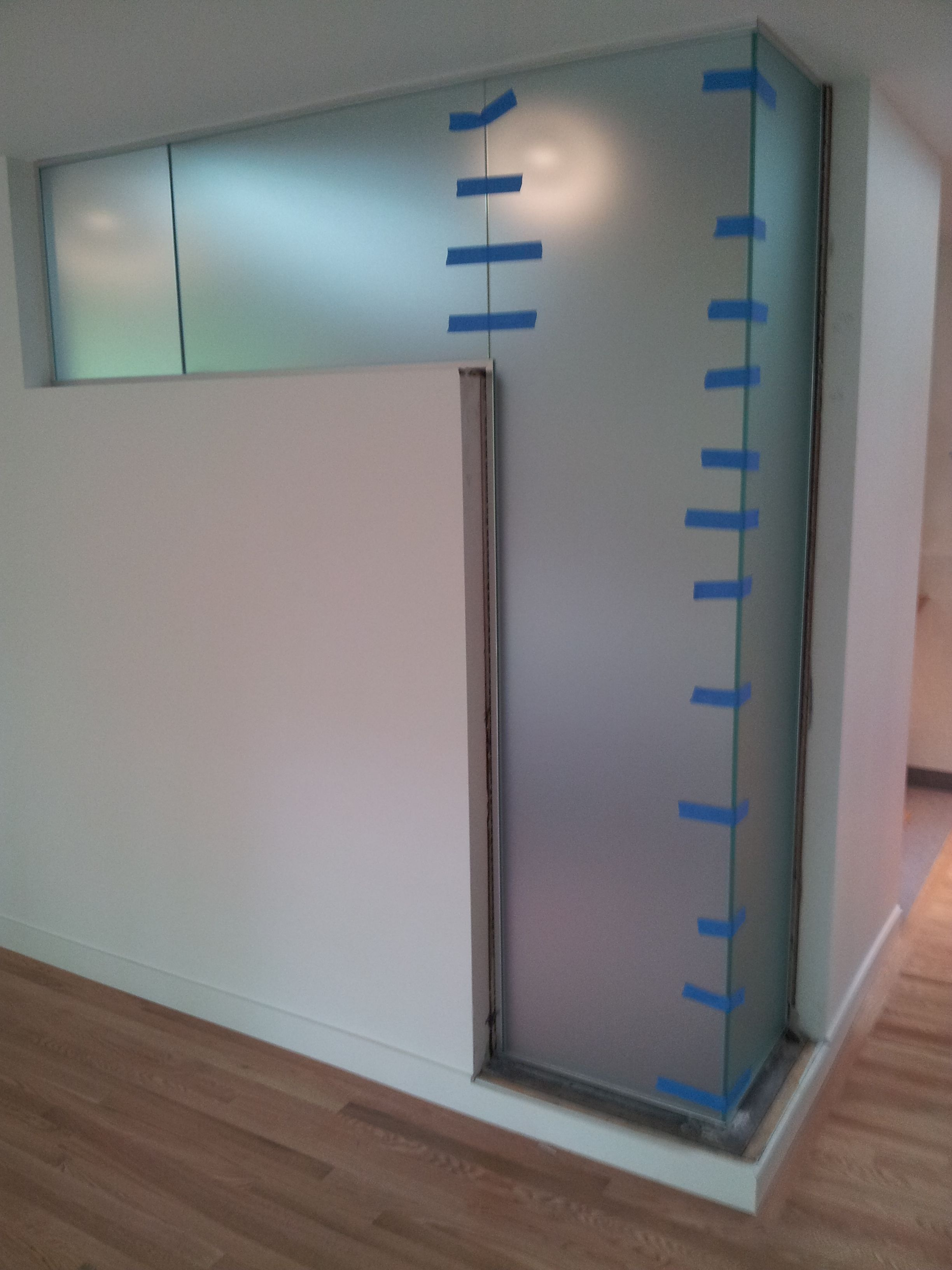 2 Sided Shower Enclosure Frameless One Side Clear And One Side