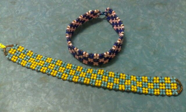 With seed beads size 15 and 8
