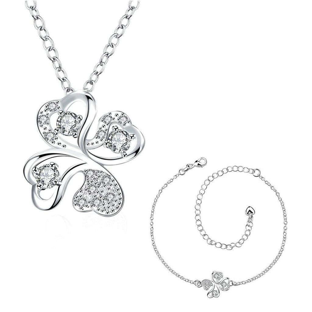 Women's 18K Gold Plated Jewelry Sets Earrings Necklace CZ Crystal Elements Crystal