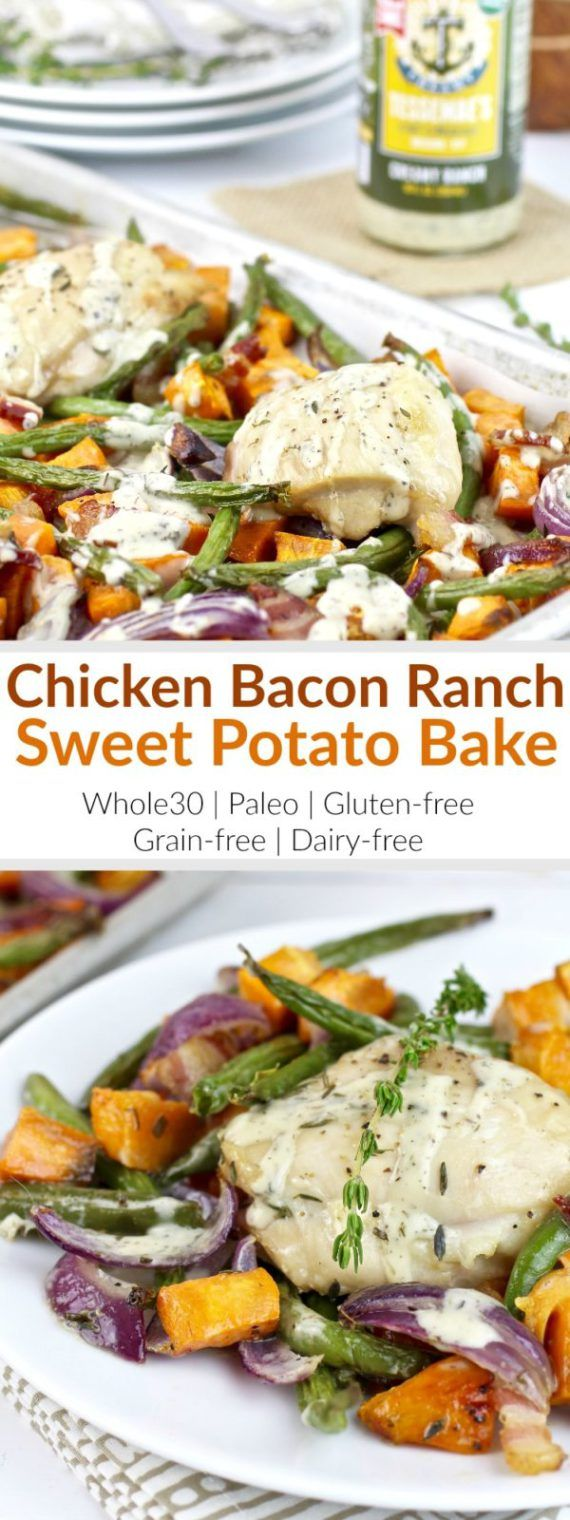 One-pan Chicken Bacon Ranch Sweet Potato Bake is a highly palatable meal and will likely become the newest family favorite and addition to your menu rotation! | Whole30 | Paleo | Gluten-free | Grain-free | Dairy-free | whole30 dinners | paleo dinners | gluten-free dinners | grain-free dinners | dairy-free dinners | healthy dinners || The Real Food Dietitians #whole30dinners #sheetpanmeals