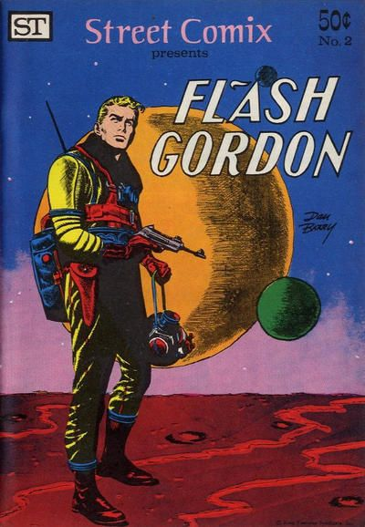 Street Comix #2 (Flash Gordon and His Adventures in Space #1) published reprints of Flash Gordon newspaper strips from 1952 written and illustrated by the incomparable Dan Barry (Predator) in a 7-in. x 10-in. black & white paperback with 32 newsprint pages. Street Enterprises published Comic Reader. http://beachbumcomics.blogspot.com/