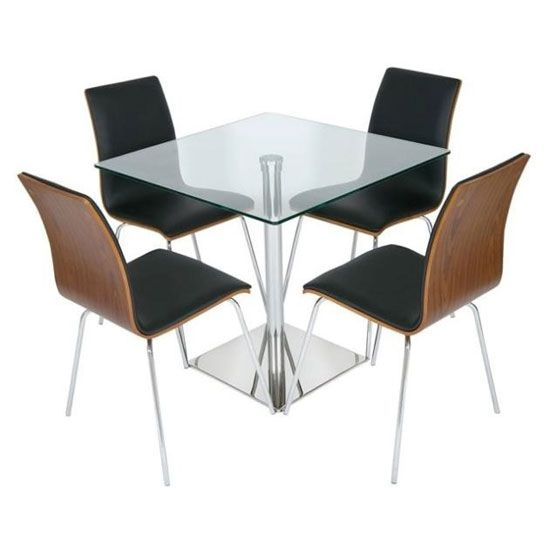 Luca Square Glass Dining Table And 4 Rimini Walnut Black Chairs
