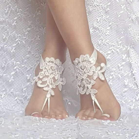 396f2ba38a032 ivory Beach wedding lace barefoot sandals, wedding shoes, bridesmaid ...