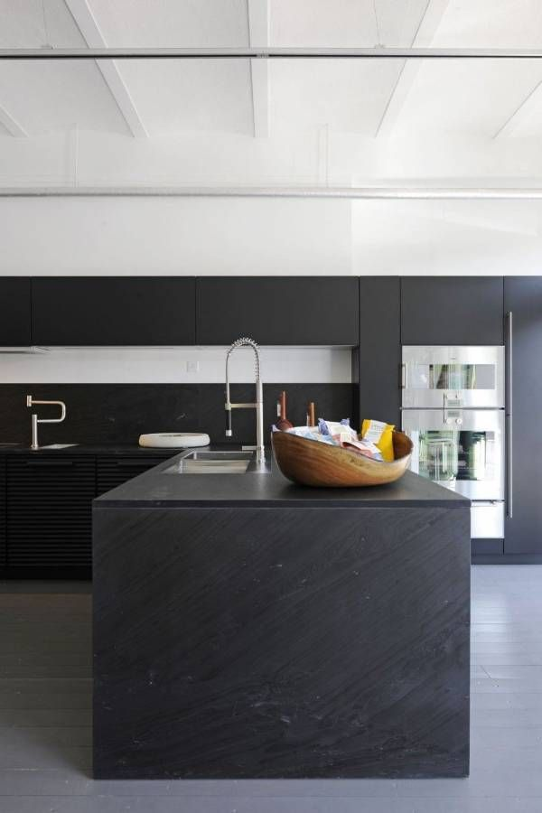 black kitchen island. Kitchen Hardwood Modern Black Island And Granite  Countertop Stainless Sink
