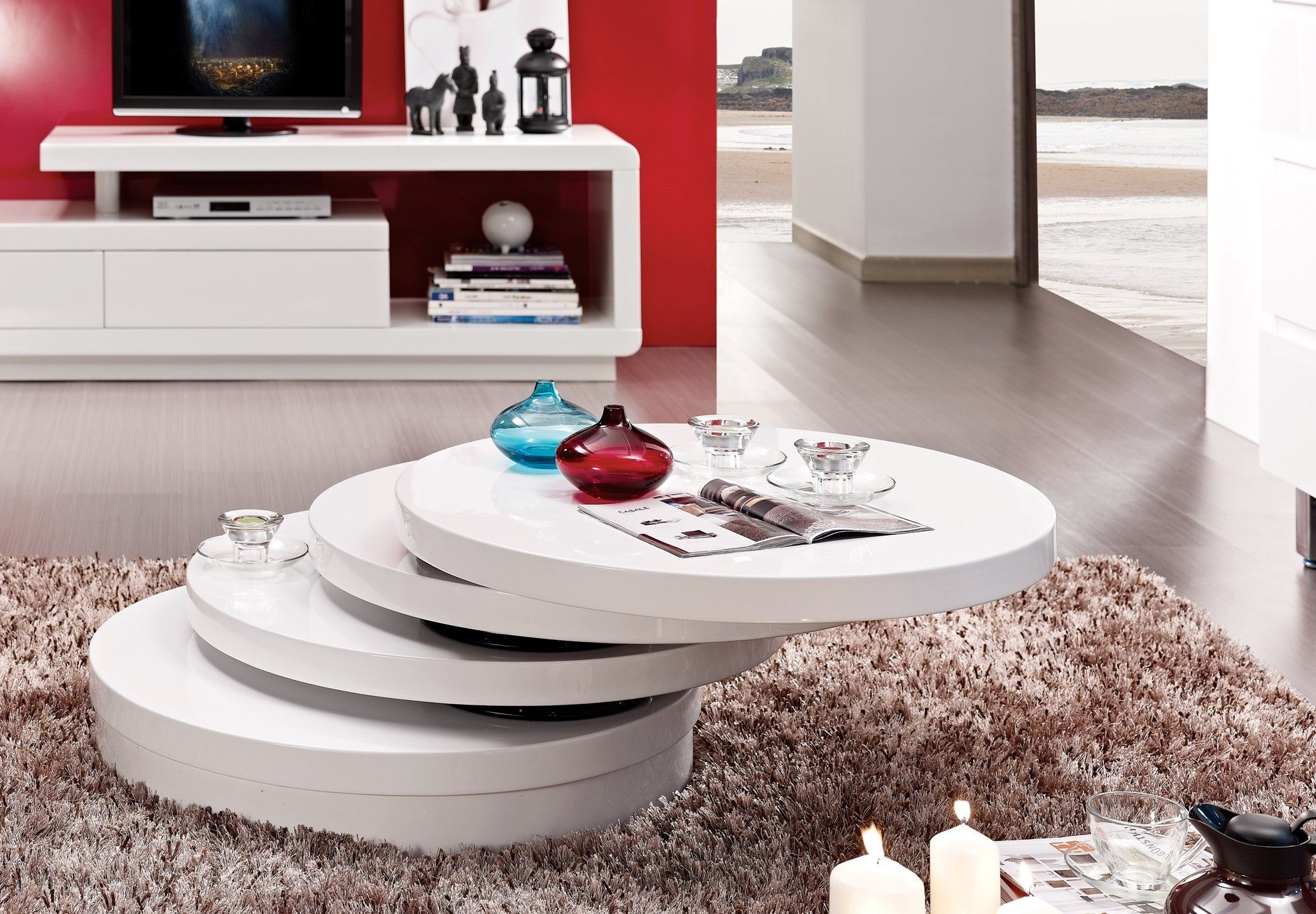 table basse design ronde modulable en bois blanc istanbul - Table Salon Moderne Design