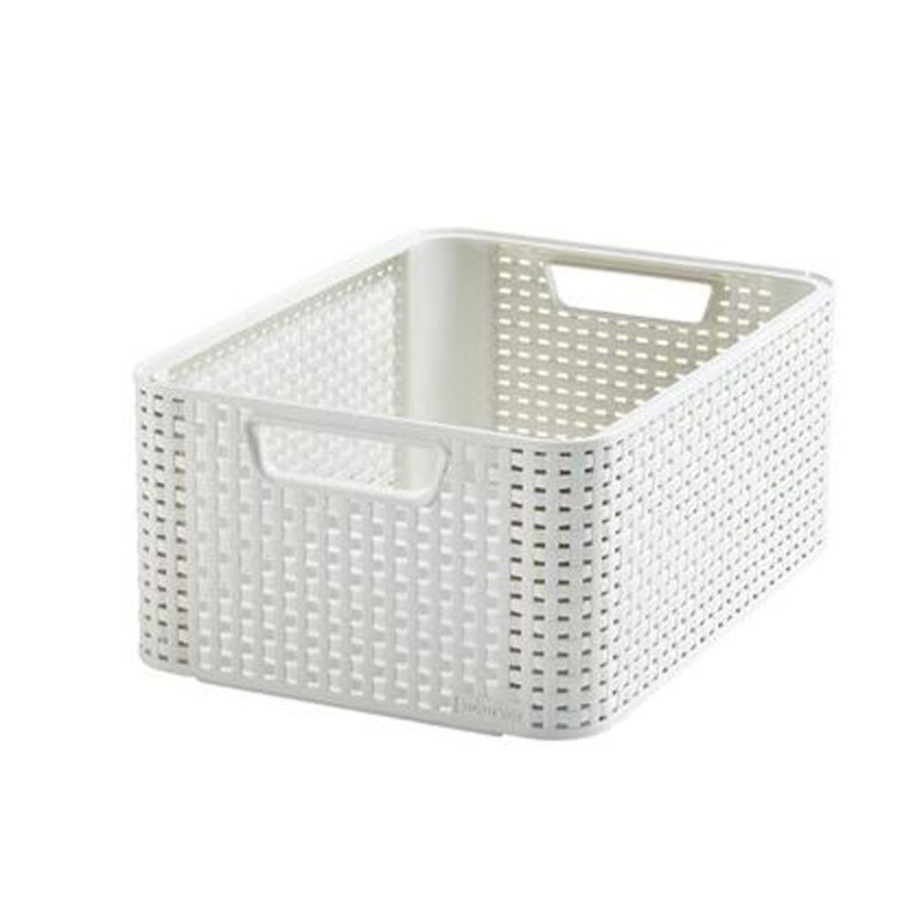 Curver Style 5 Gal Rattan Storage Tote In Cream 222587 The Home