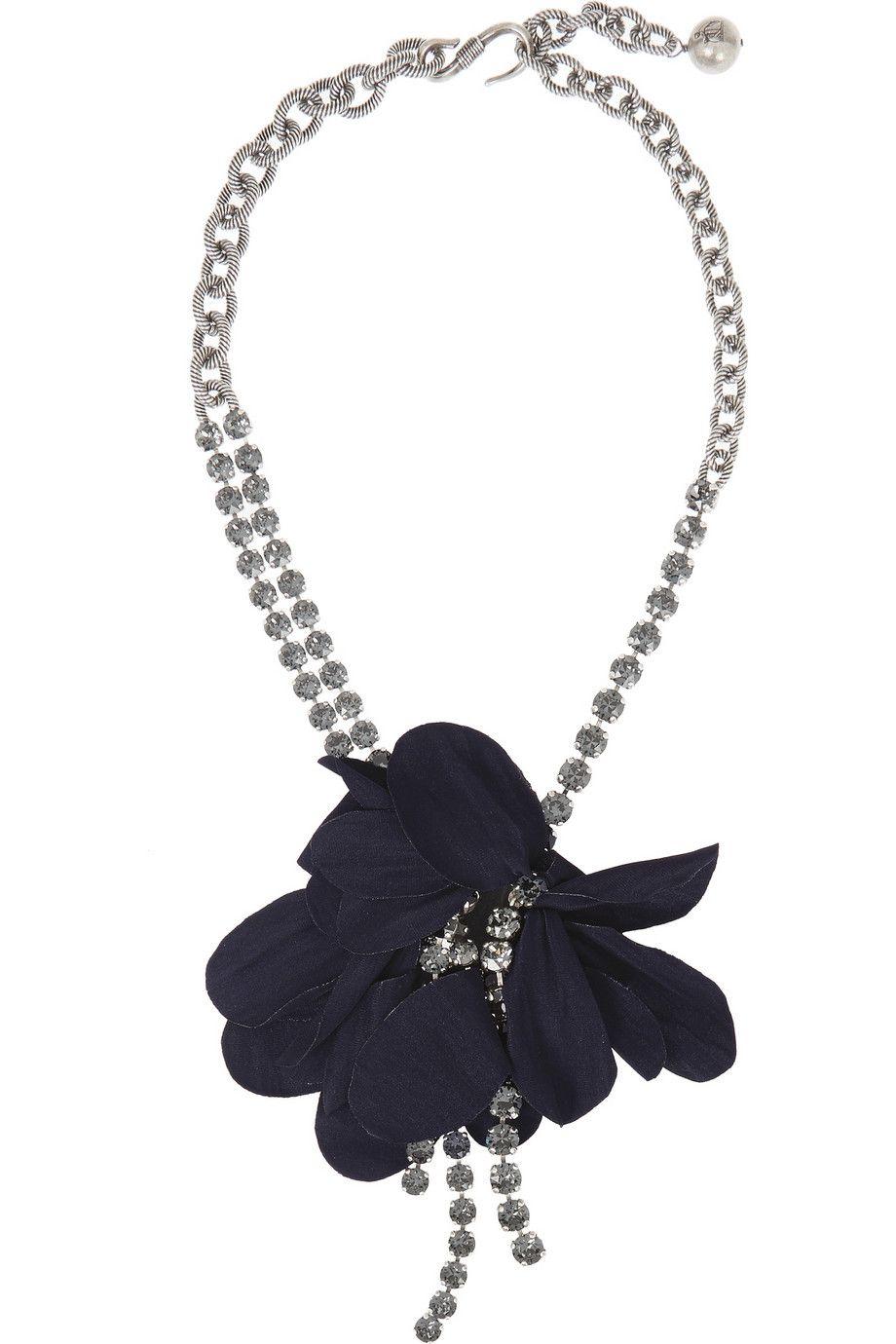 Lanvin Woman Oxidized Gunmetal-tone Crystal Necklace Blue Size Lanvin 1tkqKVwX4