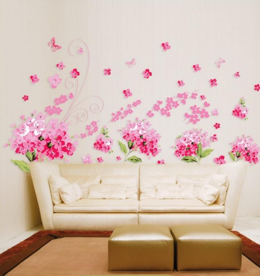 Pink Flowers Wall Sticker Pink Home Decor Wall Decor Decals