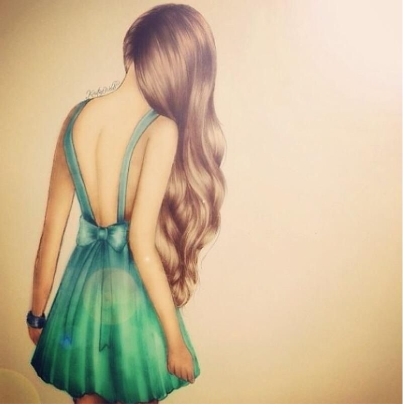 Beautiful Drawing Of A Girl With Long Hair In A Dress With Images