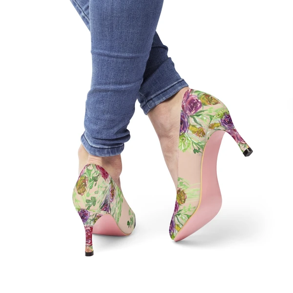 Nude Bridal Floral Print Heels, Wedding Flower Womens 3″ High Heels Canvas Shoes