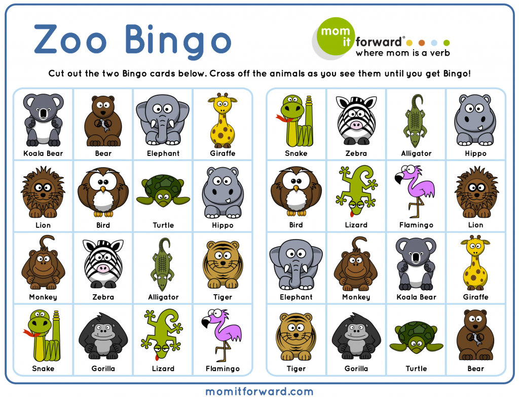 Zoo Bingo Free Printable