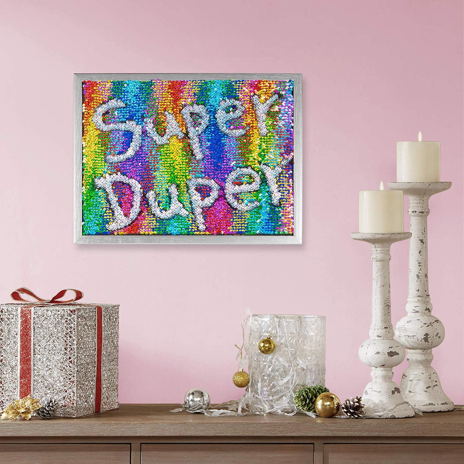 Decor 5 Reversible Mermaid Sensory Sequins Diy Drawing Wall Art 12 X 16 Shiny Rainbow Sequins With Silver Frame Silver Frame Sequins Diy Wall Art