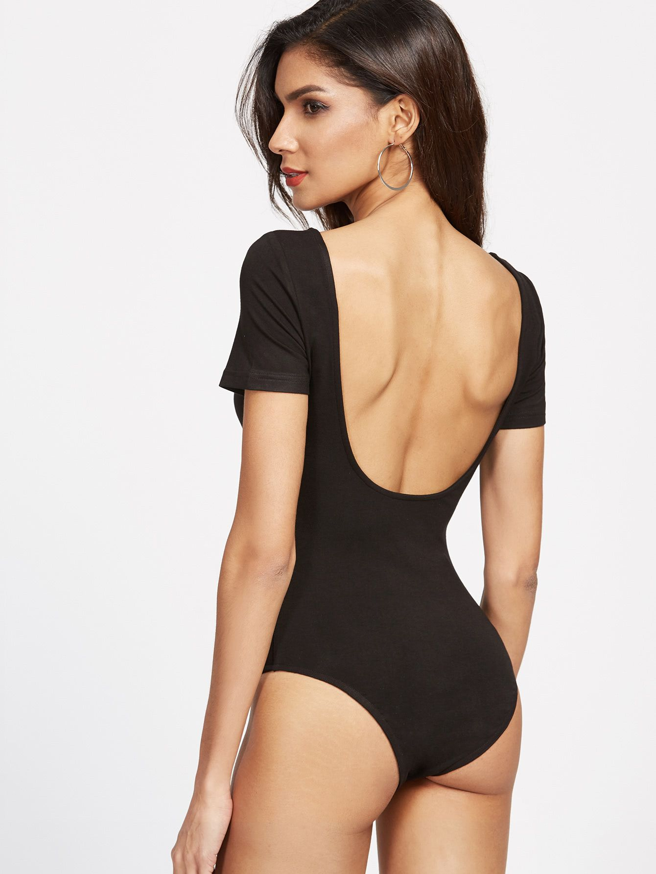 Shop Scoop Neckline Open Back Bodysuit online. SheIn offers Scoop Neckline  Open Back Bodysuit   more to fit your fashionable needs. 653d750d4