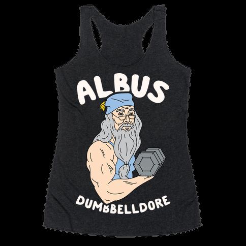 Look Human - Albus Dumbbelldore women's racerback tank in heathered black, size XL