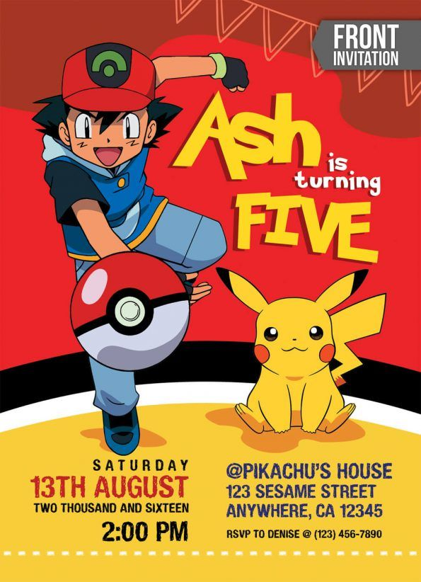 pokemon-birthday-invitations-front Pokémon themed party Pokemon