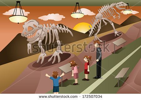 A vector illustration of kids on a field trip to a museum - stock vector