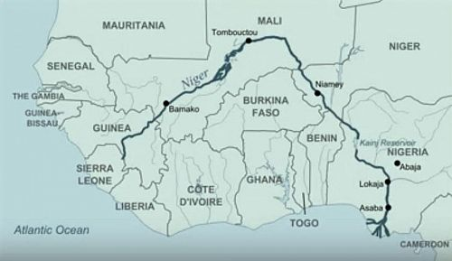 Photo of Map showing Niger River and its pattern of flow, linking to ...